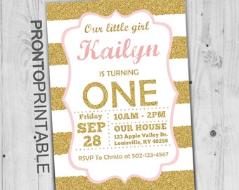 Pink and Gold First Birthday Invitation | Girl Birthday Party | Gold Glitter | 1st Birthday Invitation
