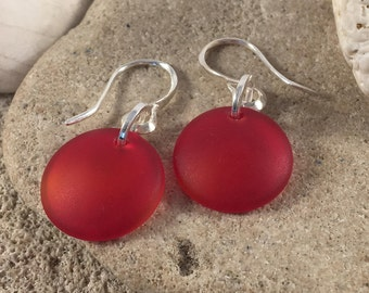 Red Sea Glass Button Earrings