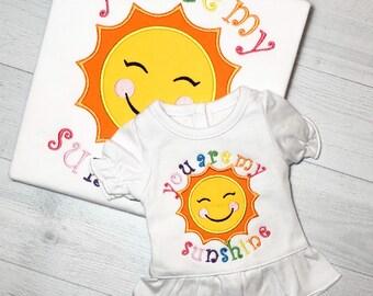 Girls You Are My Sunshine Shirt Girls Applique Sunshine Shirt