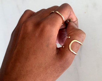 Gold Square Ring, geometric ring, thin modern ring, statement ring, skinny ring, skinny sterling ring, hammered ring, gold hammered ring