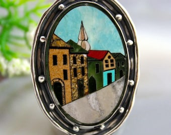 Statement Mosaic Sterling Silver Ring Beloved Italy