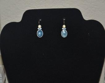 Silver Tone Swirly Marbled Blue Stone Dangling Drop Earring