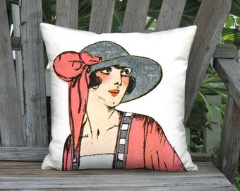 18x18 Inch - READY TO SHIP - Linen Cotton Lipstick Red Pillow - French 1920s Fashion Hat Cushion Cover - French Fashion Decor