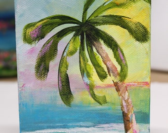 Palm Tree Beach Tropical Island Abstract Mini Painting
