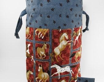 "Knitting Project Bag - New!  ""Horses"" Large Drawstring Project Bag (V)"