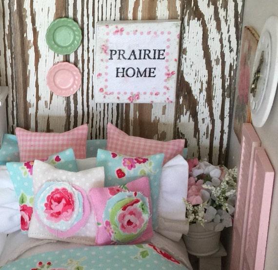"Miniature Shabby Chic Prairie Sign Canvas Picture- miniature dollhouse 2"" square art"
