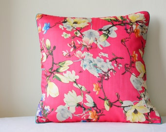 Spring Summer Florals, Pink Floral Print Pillow Cover , Hot Pink Floral Cushion Cover , Pink Decorative Pillow , Spring Cushion Cover