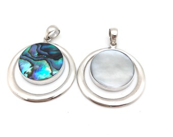 Sterling Silver Circle Pendant with Abalone or Mother if Pearl