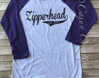 Chiari Malformation, Zipperhead, chiari awareness shirt, custom raglan, personalized baseball tee, baseball shirts, with est surgery date