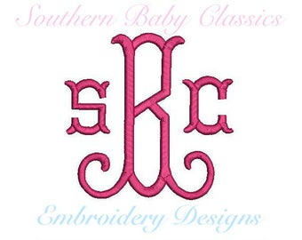 Fishtail Curl Arabesque Monogram Font Design File for Embroidery Machine Monogram Instant Download 4.5 and 3.5 Inches