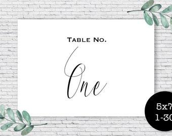 Printable Table Numbers // 1-30 // Black Wedding Decor // 5x7 Table Numbers