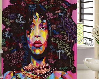 Afro Black Girl Magic Shower Curtain  2