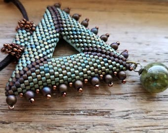 Peyote Necklace.  Hand Beaded.  Double Sided.