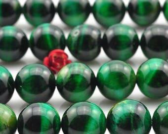 Green Tiger eye: 10 beads natural semi precious 8mm