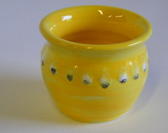 Golden Yellow wheel thrown pot with White and Black Dots