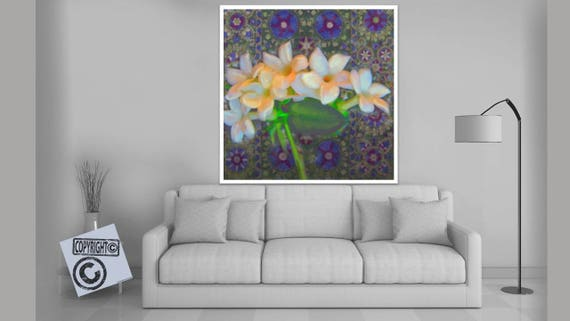 JASMINE WHITE - Mixed Media, Giclee, Floral,Large Canvas Print,Living Room,Home Decor,Exotic,Flower,