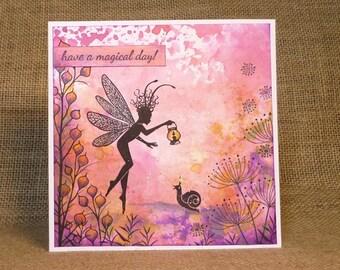 handmade fairy card, birthday card, blank card, girl's card, magical card, magic card