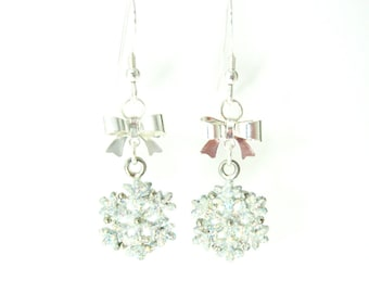White Snowflake Earrings with Bows, Glitter Snowflake Earrings, Holiday Fashion, White Christmas Earrings, Winter Fashion, Winter Jewelry