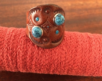 Handmade Leather Stamped Ring With Two Turquoise Rivets RM55R