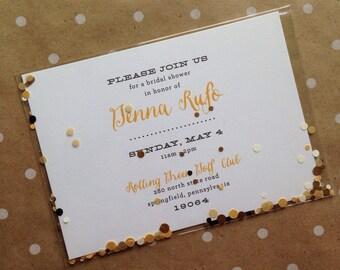 Bridal shower postcard Invitation with confetti!