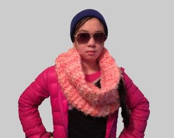 Pink Scarf, Pink Cowl, Pink Knit Cowl, Pink Infinity Scarf, Chunky Pink Scarf, Pink Shoulder Wrap, Pink Circle Scarf, Pink Snood, Scarf