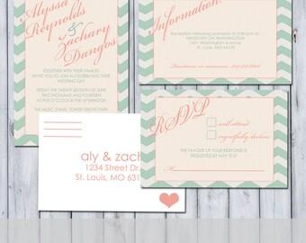 Chevron Wedding Invitation - RSVP - Information Card Package - Digital Download