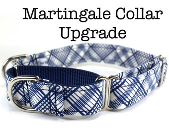 "Martingale Collar Upgrade with Gold or Silver Hardware (3/4"", 1"", 1.5"" or 2"" width upgrade)"