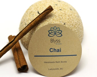 Chai Bath Bomb, scented with spices, vanilla essential oil and powdered milk