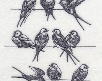 Swallows on a Wire Embroidered Flour Sack Hand/Dish Towel