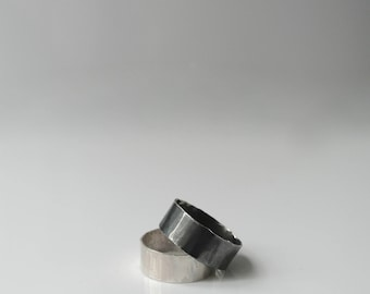 FLUX Solid sterling silver han-forged statement ring minimalist design in 3 width options