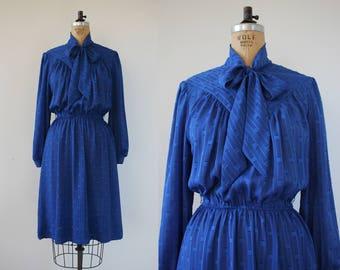 vintage 1980s blue dress / 80s secretary dress / 80s pussy bow dress / 1980s royal blue silky dress / medium large