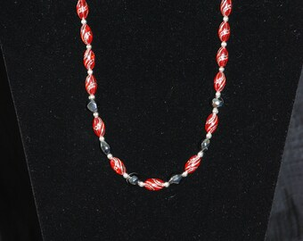 Red Silver and Black Necklace