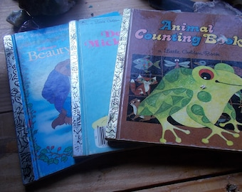 3 vintage children's books  Animal counting book,,ddectecrive Mickey..Beauty and beadt...