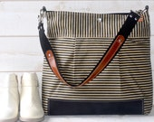 Waxed canvas bag, Diaper bag / Nautical tote bag / Messenger bag  Black striped Stockholm geometric Leather Tote / Vogue
