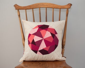 Quilted Pillow - Red/Pink Jewel, Ruby Gem - Pillow Cover