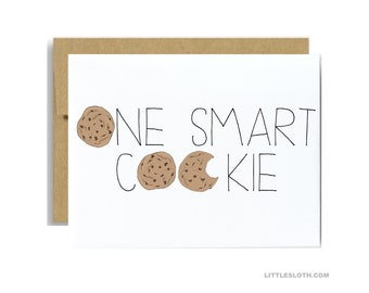 One smart cookie card - graduation achievement congrats congratulations kraft graduate high school college
