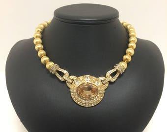 Vintage 1980's Ciner Gold & Crystal Necklace