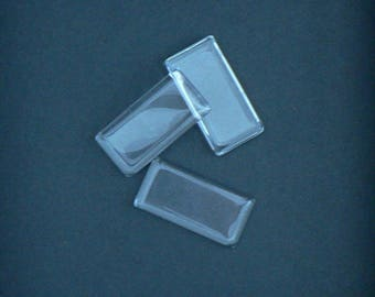 Glass - Rectangle - 48x24mm - flat cabochon - Transparent and Non-grossissant