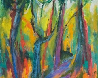 Yuourski's Woodlot GICLEE ART PRINT 17 x 11 woods pine trees gardens landscape
