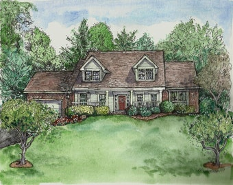 House Portrait Custom Watercolor and Pen Drawing illustration of your home or building, housewarming, moving, paper anniversary gift