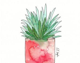Watercolor Aloe Plant, original watercolor illustration, cactus art, succulent, cactus home decor, cactus art, aloe painting, aloe art