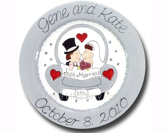 Personalized Wedding Plates Anniversary Plate Hand Painted