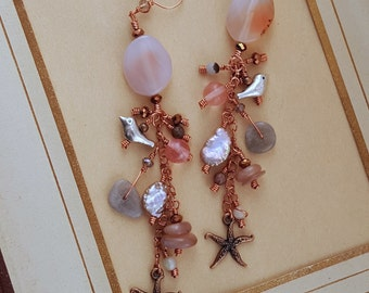 Tassel Copper Earrings with agate, sunstone, cherry quartz, and starfish charms