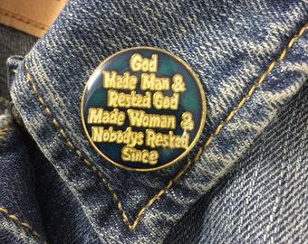 Vintage GOD MADE MAN enamel lapel pin (stock# 407)