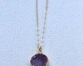 Amethyst Druzy Necklace, ...