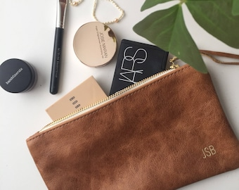 Brown Leather Clutch // Monogrammed Leather Pouch // Bridesmaid Gift // Leather Makeup Bag