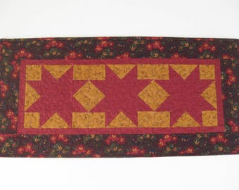 """Country Table Runner, Quilted Table Runner, Maroon Star Table Runner, Handmade Table Runner, Gift For Home,  Quilts, 15 1/4"""" X 31 1/2""""."""