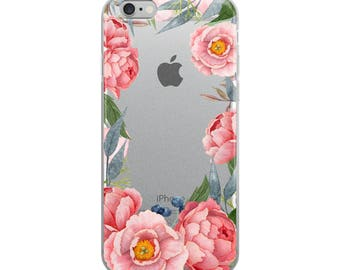Peonies Clear iPhone 7 Case - Floral iPhone 6s Case Transparent iPhone 6 Case - iPhone x case - iPhone 8 Case - iPhone 6 Plus Case