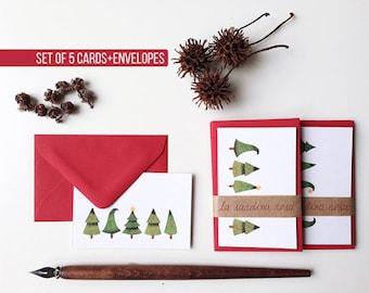 Set of Christmas Gift Cards, Holiday Greetings Cards, 5 Mini Christmas Cards, Holiday Gift Tags