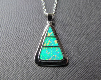 Green Opal Necklace - Triangle Pendant - Lab Created Opal Jewelry -